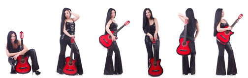 The woman playing guitar isolated on white Stock Photos