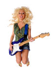 Woman Playing Guitar Jumping Royalty Free Stock Photos
