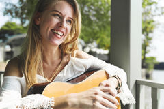 Woman Playing Guitar Leisure Hobby Concept Stock Photos