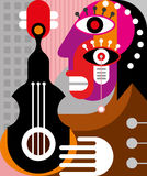 Woman playing guitar - vector illustration Royalty Free Stock Image