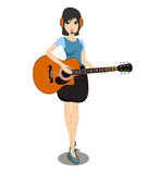 Woman playing the guitar. Stock Photo