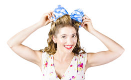 Woman playing with hair tie. Retro accessories Stock Images