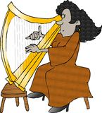 Woman playing a harp. This illustration that I created depicts a woman playing a golden harp Royalty Free Stock Images