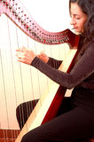 Woman playing a harp. Woman musician playing a harp Royalty Free Stock Images
