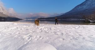 Woman playing with her Airedale Terrier dog in snow. Woman playing with her dog Airedale Terrier in snow at the beautiful Lake Bohinj in Julian Alps, Slovenia stock video