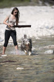 Woman playing with her bearded collie dog in water Royalty Free Stock Images