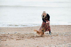 Woman playing with her dog Royalty Free Stock Images