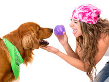 Woman playing with her dog Stock Photography