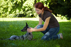 Woman playing with her dog outdoors Royalty Free Stock Image