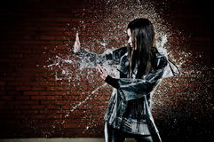 Free Woman Playing In Rain Royalty Free Stock Image - 23183916