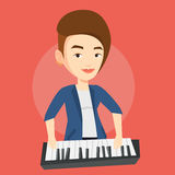 Woman playing piano vector illustration. Stock Photos