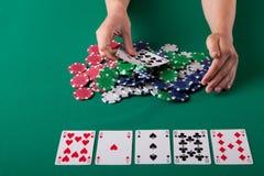 Woman playing poker Royalty Free Stock Photo
