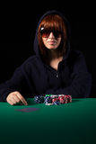 Woman playing poker Royalty Free Stock Photos