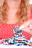 Woman playing poker Royalty Free Stock Images
