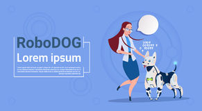 Woman Playing With Robotic Dog Cute Domestic Animal Modern Robot Pet Artificial Intelligence Technology Royalty Free Stock Photos
