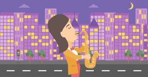 Woman playing saxophone. Stock Photos