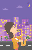 Woman playing saxophone. Royalty Free Stock Images