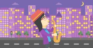 Woman playing saxophone vector illustration. Royalty Free Stock Image
