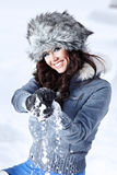 Woman playing with snow Stock Photo