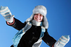Woman playing with snow Stock Image