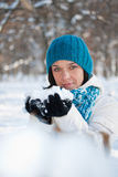 Woman playing with snow Stock Photos