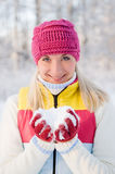 Woman playing with snow Stock Photography