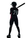 Woman playing softball players silhouette isolated. One woman playing softball players in silhouette isolated on white background Stock Photography