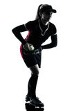 Woman playing softball players silhouette isolated Stock Photography