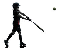 Woman playing softball players silhouette isolated Royalty Free Stock Photography