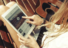 Woman Playing Song Tablet Music Beautiful Concept Stock Image