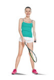 Woman playing squash. Cute girl playing squash. insulation on a white background Stock Images