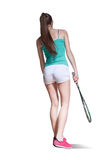 Woman playing squash. Cute girl playing squash. insulation on a white background Royalty Free Stock Photography