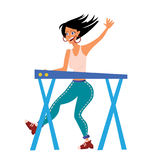 Woman playing on synthesizer. Female musician. Female musician keyboardist. Vector illustration,  on white Stock Photos