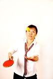 Woman playing table tennis. Yellow ball royalty free stock photography