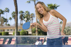 Woman Playing Table Tennis Stock Photo