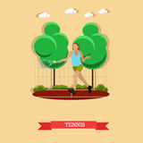 Woman playing tennis on the court, flat design. Vector illustration of female tennis player do forehand on the outdoor court. Sportswoman trains strokes with a Stock Photography