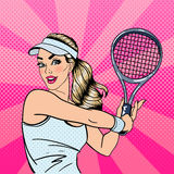 Woman Playing Tennis. Sportswoman with Racket. Healthy Lifestyle Royalty Free Stock Photography
