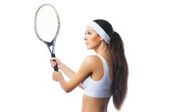 Woman playing tennis and waiting for the service Royalty Free Stock Photography