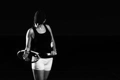 Woman Playing Tennis Waiting Tennis Ball Stock Photography