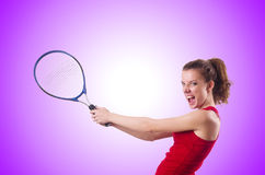 Woman playing tennis on white Royalty Free Stock Images