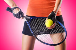 Woman playing tennis on white Stock Image