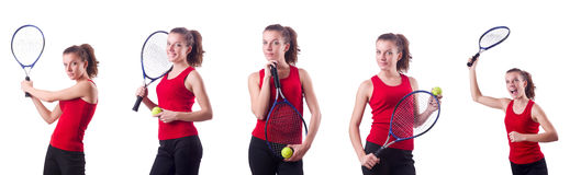 The woman playing tennis on white Royalty Free Stock Photography