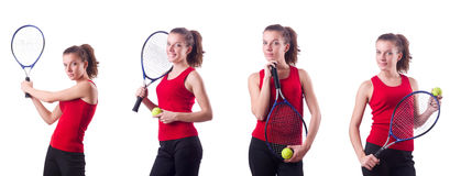 The woman playing tennis on white Royalty Free Stock Image