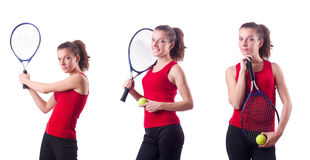 The woman playing tennis on white Stock Photography