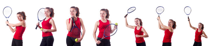 The woman playing tennis on white Stock Photo