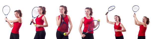 The woman playing tennis on white Royalty Free Stock Photos