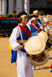 Woman Playing Traditional Korean Drums Royalty Free Stock Images