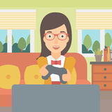 Woman playing video game. Royalty Free Stock Photos