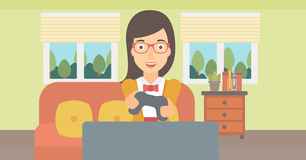 Woman playing video game. Royalty Free Stock Image