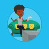 Woman playing video game vector illustration. Stock Photo